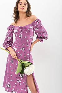 Женское платье фрез-белый букет Пала д/р