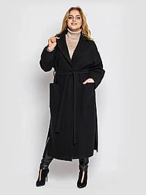 Очаровательное женское пальто длинное черного цвета из кашемира, большие размеры от 48 до 58