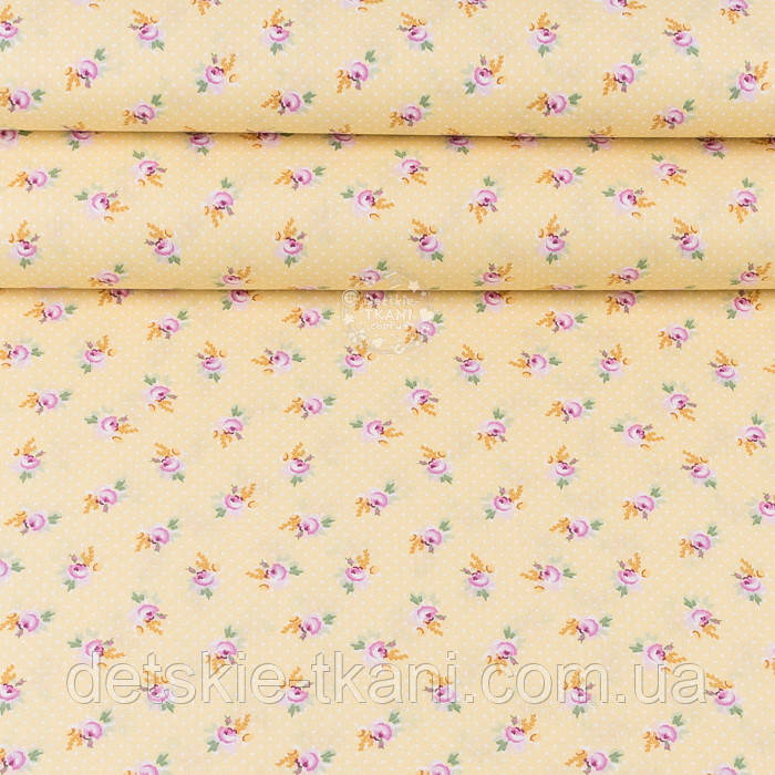 """Поплін шириною 240 см """"Дрібні рожеві трояндочки і білі точки на жовтому"""" (№3347)"""