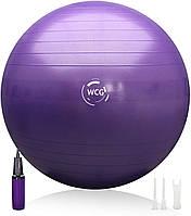 М'яч для фітнесу (фітбол) WCG 65 Anti-Burst 300кг Фіолетовий + насос