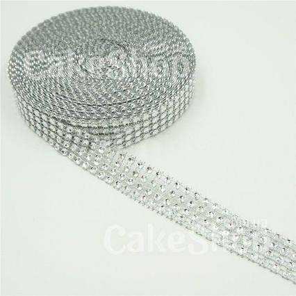 Стрічка для декору зі стразами Срібло 2 см