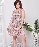 Женское легкое летнее платье с цветочным принтом больших размеров
