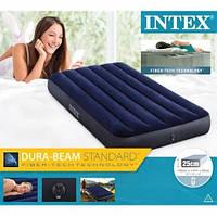 Велюровый надувной матрас одноместный Intex 64756 76-191-25см