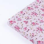 """Поплін шириною 240 см """"Середні рожеві трояндочки на рожевому тлі"""" (№3349), фото 3"""