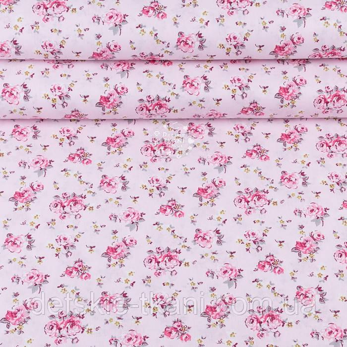 """Поплін шириною 240 см """"Середні рожеві трояндочки на рожевому тлі"""" (№3349)"""