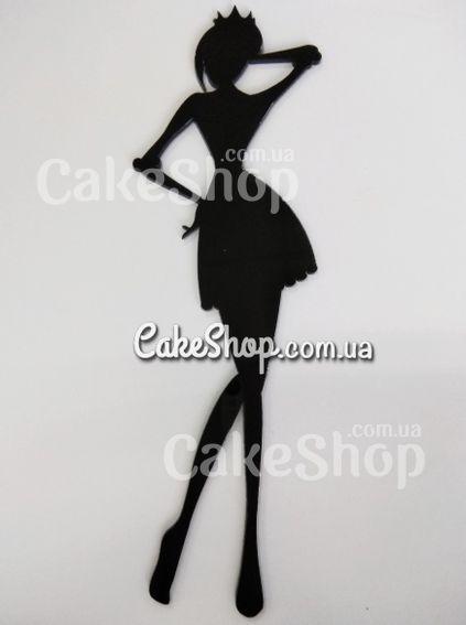 Деревянный топпер для декора Модная девушка черный