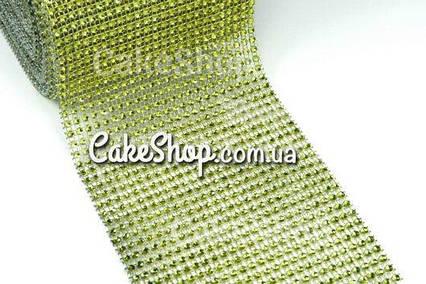 Стрічка для декору зі стразами Зелена 4 см