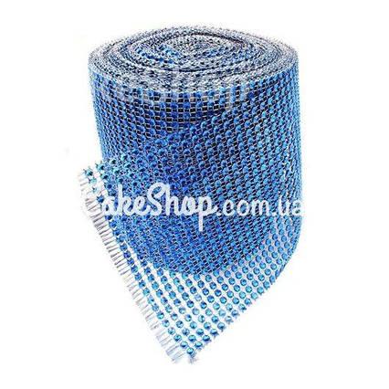 Стрічка для декору зі стразами Синя 4 см