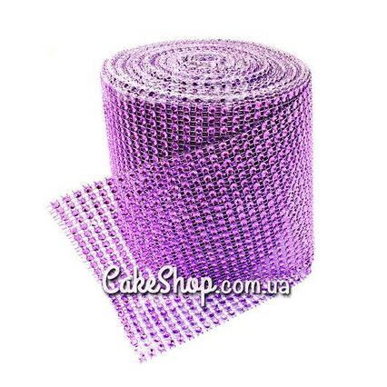 Стрічка для декору зі стразами Фіолетова 4 см