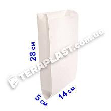 Крафт-пакет саше для еды белый 140х50х280