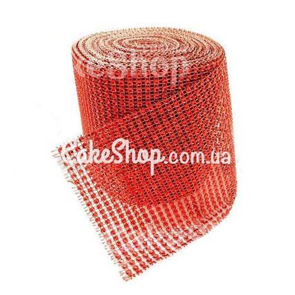 Лента для декора со стразами Красная 4 см