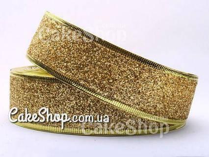Стрічка для декору новорічна золота з глітером і дротовим краєм 4 см