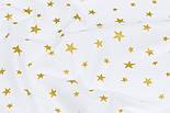 """Поплин шириной 240 см """"Золотистые остроконечные звёзды на белом фоне"""" (№3350), фото 4"""