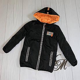 Куртка для мальчика подростка деми «Алан» двухсторонняя черная с оранж 116