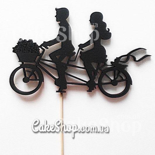 Деревянный топпер для декора Пара на велосипеде черный