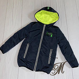 Куртка для мальчика подростка деми «Алан» двухсторонняя синий с салатовым 116