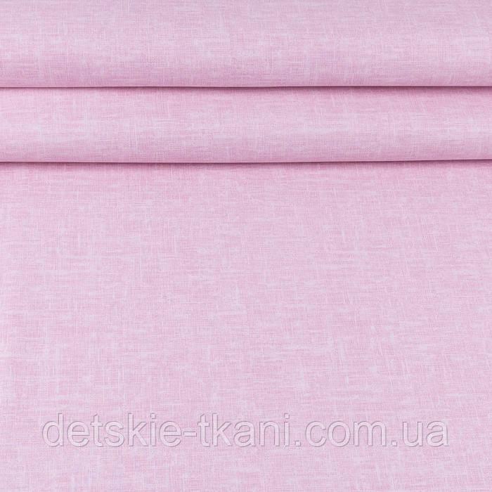 """Поплин шириной 240 см с принтом """"Имитация рогожки"""" розового цвета (№3352)"""