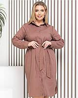 Платье-рубашка из натурального льна длинное, кофе/ кофейного цвета БАТАЛ арт.М350, фото 1