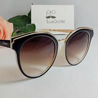 Женские стильные круглые солнцезащитные очки Диор двухцветные
