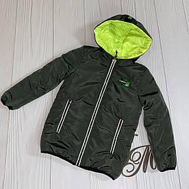 Куртка для мальчика подростка деми «Алан» двухсторонняя хаки с салатовым 116