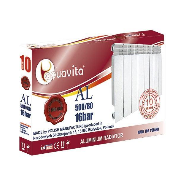 Секція литого алюмінієвого радіатора AQUAVITA 500/80 NEW, 16 бар