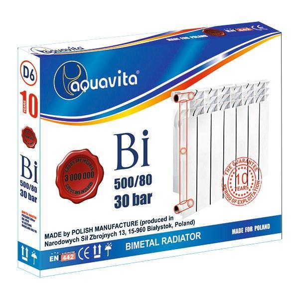 Секція біметалічного радіатора AQUAVITA 500/80 D6, 30 бар