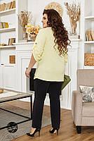 Стильный брючный костюм из джемпера с рукавами 3/4 и брюк с завышенной талией с 48 по 66 размер, фото 3