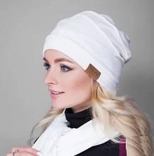 Шапка без шарфа  из тонкого гладкого трикотажа  в спортивном стиле