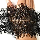 Ажурне французьке мереживо шантильї (з віями) чорного кольору шириною 7,5 см, довжина купона 3,0 м., фото 4