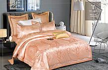 Комплект постельного белья Bella Villa Евро сатин жаккард с кружевом терракотовый