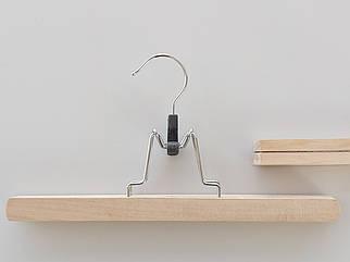 Довжина 30 см. Плічка вішалки тремпеля ECO дерев'яні кліпса для штанів
