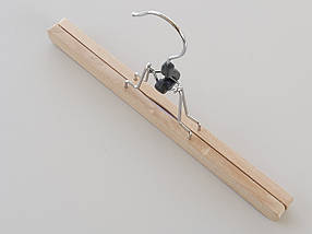 Довжина 30 см. Плічка вішалки тремпеля ECO дерев'яні кліпса для штанів, фото 2
