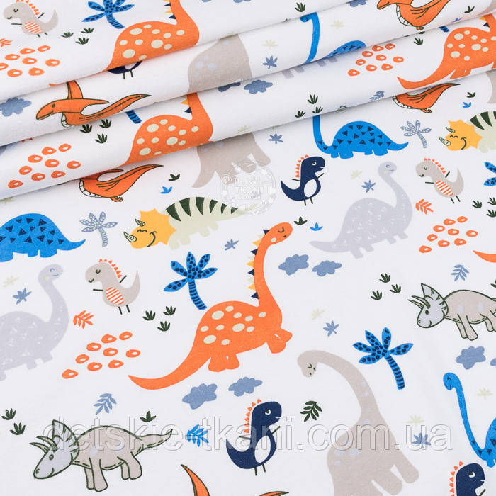 """Фланель детская """"Динозавры оранжевые, синие, серые"""", ширина 180 см"""