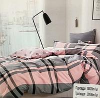 """Комплект постільної білизни полуторного розміру """"Epico"""" сіро-рожеве"""