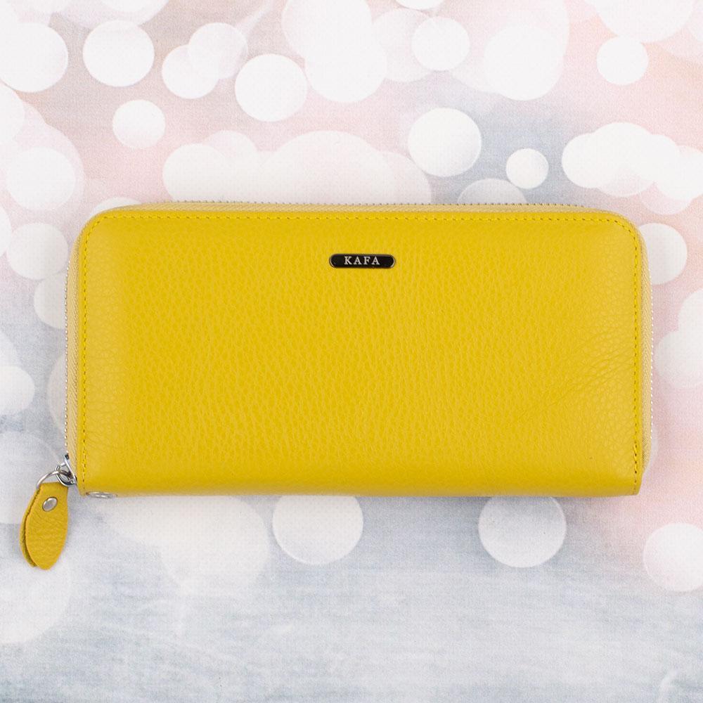Женский кожаный кошелек на молнии Kafa желтый, с блокировкой RFID-сигналов (fb)