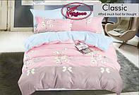 Постільна білизна двоспальне рожеве з квітами