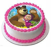 """Вафельные картинки на детский торт и капкейки на День Рождения в стиле """" Маша и Медведь"""""""