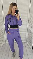 Спортивный трикотажный костюм ТРЕНД сезона -тройка с топом, фиолетового цвета/фиолетовый арт. 422