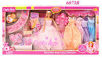 Кукла с нарядами DEFA 6073B (29 см, платья, обувь, аксессуары, питомец)
