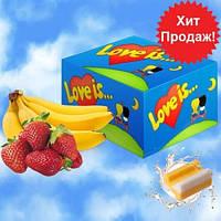 Блок жвачек Love is... со вкусом банана и клубники