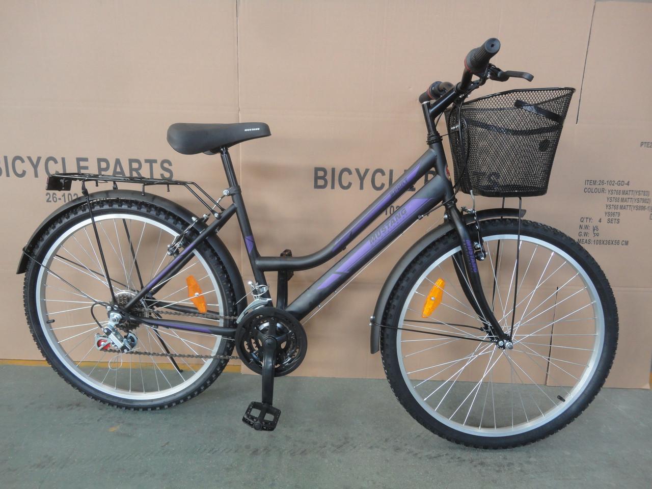 Городской велосипед дорожный Mustang 24 дюйма корзина багажник низкая рама опт 162