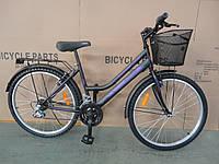 Городской велосипед дорожный Mustang 24 дюйма корзина багажник низкая рама опт 162, фото 1