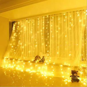 Светлодиодная гирлянда штора занвес 5х3 м 600 LED 220v Теплый белый, фото 2