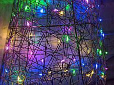 Елка металлическая с гирляндой, железная, лофт, loft, питание от батареек, 100 LED, 45 см., настенная, фото 3