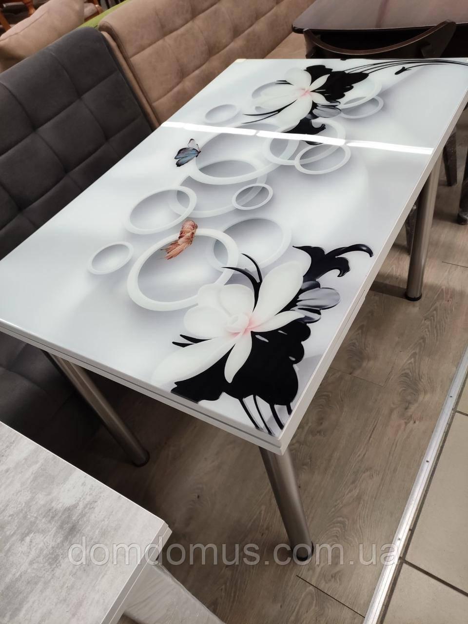"""СТОЛ стеклянный раскладной  """"Lilli"""" 110*70 см (стол ДСП, каленное стекло) Mobilgen, Турция"""