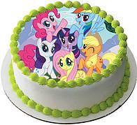 """Вафельные картинки на детский торт и капкейки на День Рождения в Стиле """"Маленькие Пони"""""""
