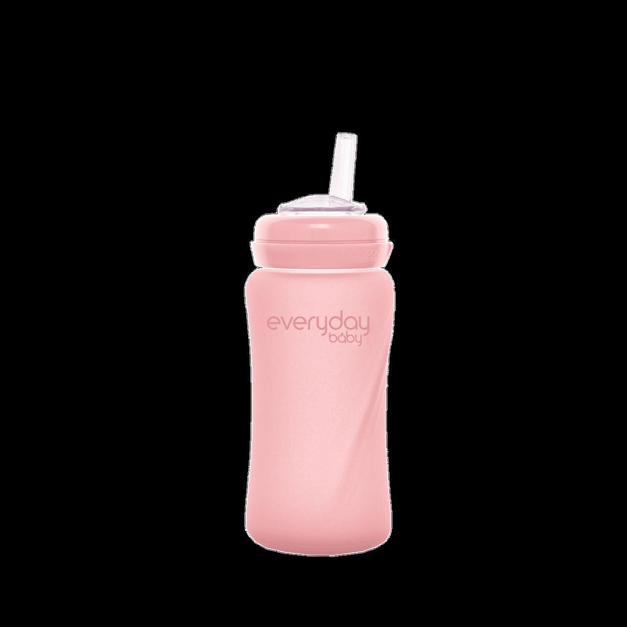 Стеклянная бутылочка с трубочкой для питья с силиконовой защитой Everyday Baby 240 мл. Цвет розовый