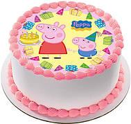 """Вафельные картинки на детский торт и капкейки на День Рождения в Стиле """"Свинка Пеппа"""""""