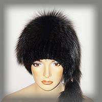 """Меховая шапочка из тонированной чернобурки и ондатры комбинированная """"Гламур"""", фото 1"""