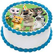 """Вафельные картинки на торт и кексы День Рождения в стиле """"Говорящий кот Томас"""""""